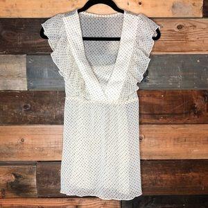 Day trip | Sheer cream blouse w/ gold polka dots